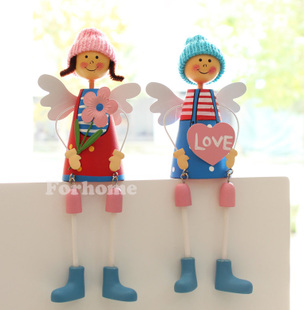 The new promotional European pastoral home decorations hanging foot doll ornaments handmade wedding gift new home