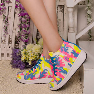 MI Ka Camo wedges platform shoes and thick woman by the end of autumn Korean version flows increased 8 cm high canvas shoes