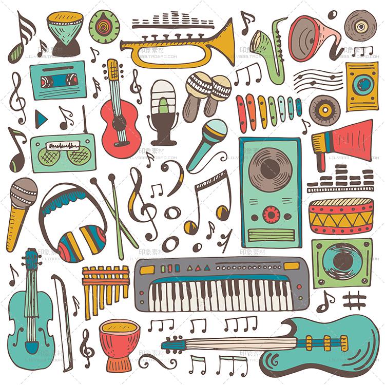 手绘卡通线描乐器二级吉他黑白图片LOGO背景EPS矢量设计素材