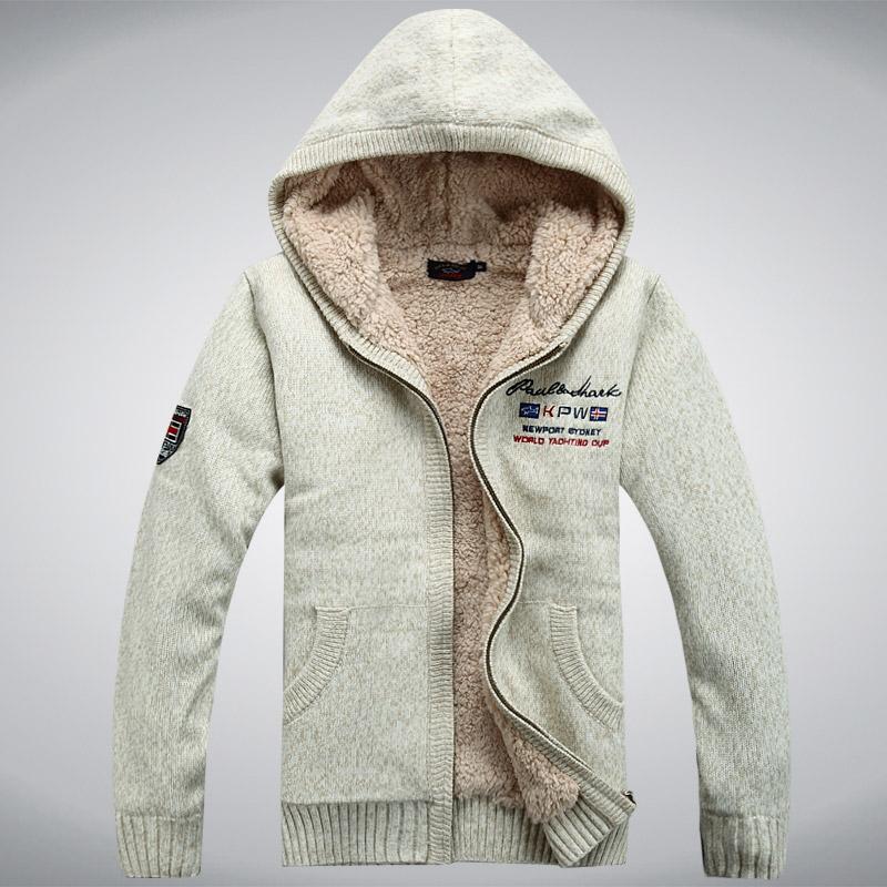 Осень/зима мужчин кашемировый свитер с капюшоном кардиган и толстые вязать свитер куртка с капюшоном кардиган свитер