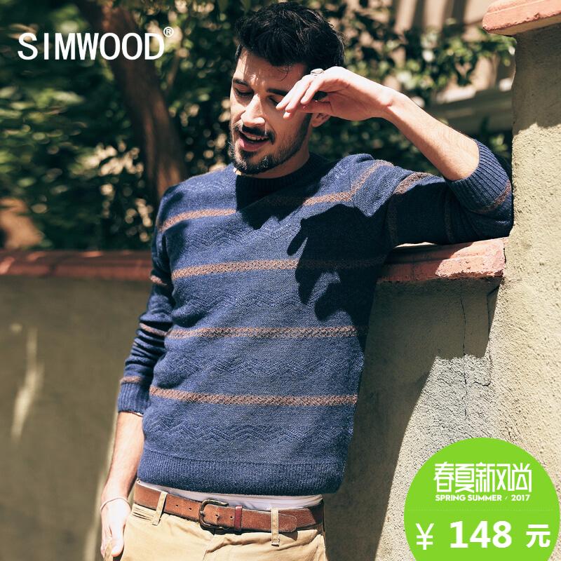 simwood男士條紋圓領毛衣
