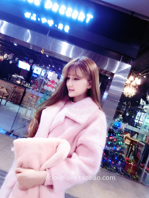2016 winter women's new style Fan Bingbing the same pink woolen cashmere coat thickened woolen coat Long