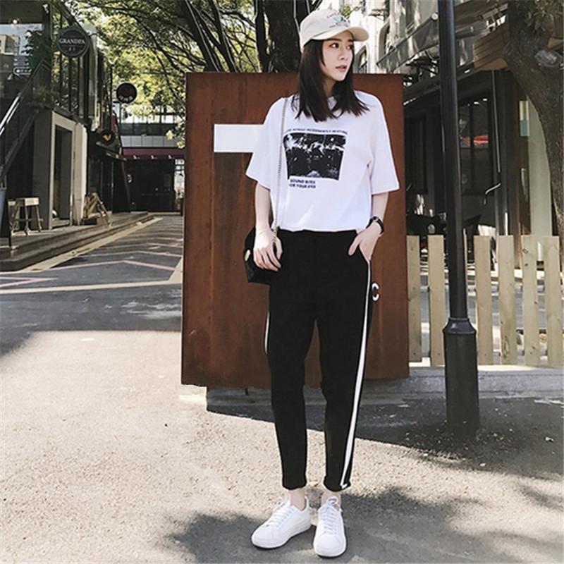 休闲套装女2019夏季新款韩版学生短袖T恤哈伦裤时尚运动两件套潮