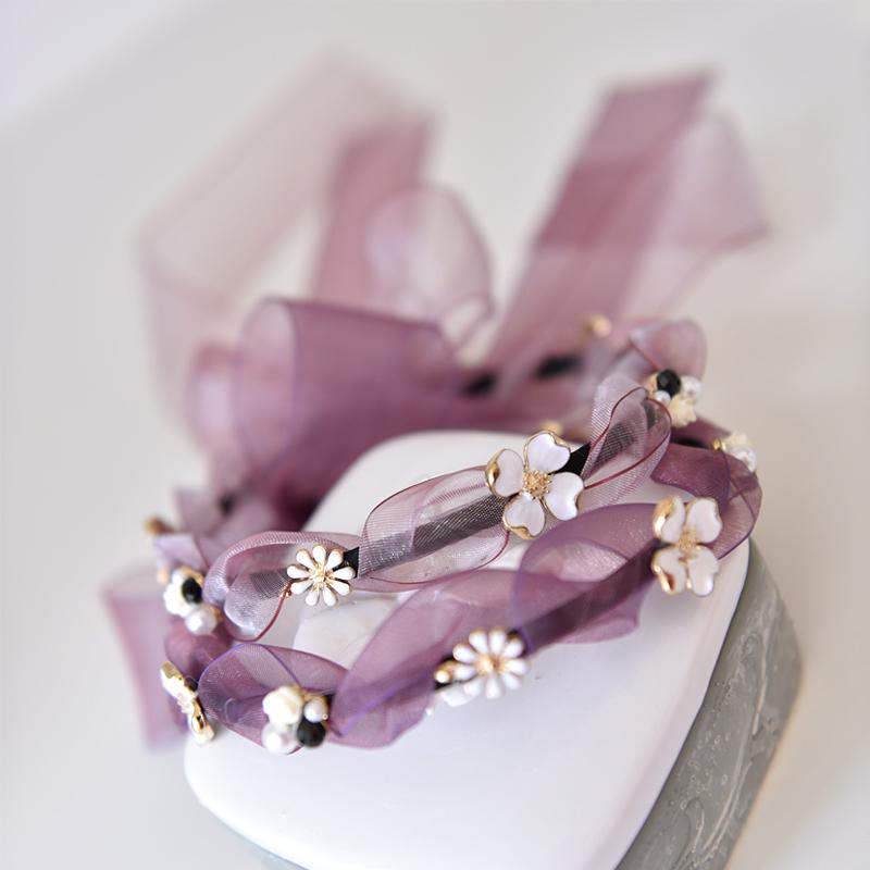 CONTRACT WORLD 契約飾界歐根紗水晶發帶 唯美定製 珍珠細發箍