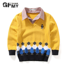 Kung fu ants baby clothes fall 2015 new children's sweater boy 1579 holiday two shirt collar knitting coat