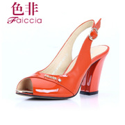 Non genuine counters button after the fish mouth air thick with patent leather Sandals WFBT23603A