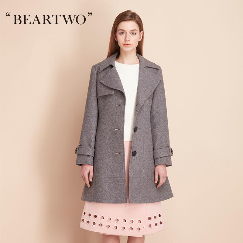 BEARTWO spring new Slim woolen coat long section of single-breasted suit collar coat BC6S8203B1