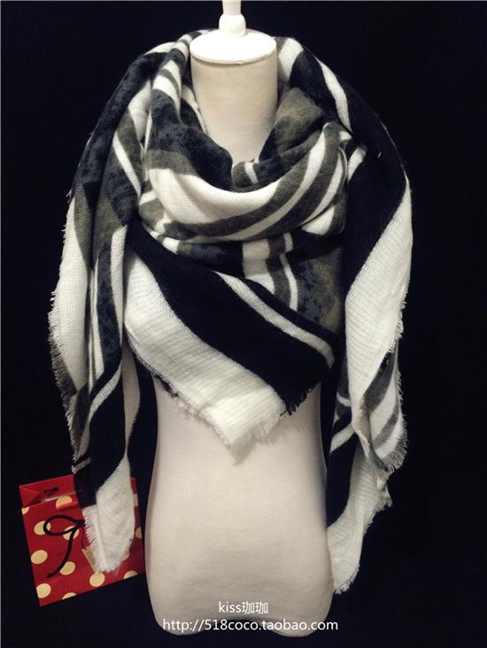 Торговля за пределами Европы и смешанных цветов в черно-белый супер бандана шарф шаль шерсти и кашемира шарф шаль осень/зима толстые женщины