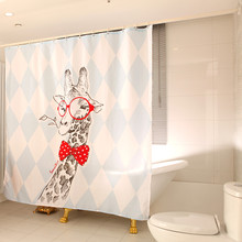 Jia and cartoon sika deer polyester cord bathroom waterproof mouldproof pure copper ring toilet partition curtain products