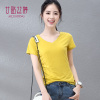 Ting Yi Lusi summer women's short-sleeve shirt Slim compassionate solid color V-neck short-sleeved cotton T-shirt Slim female 3560