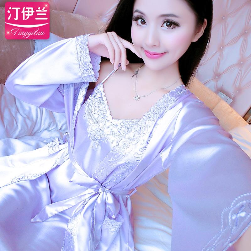 女絲滑睡衣女春夏短袖吊帶裙性感兩件套裝浴袍絲綢家居服睡袍