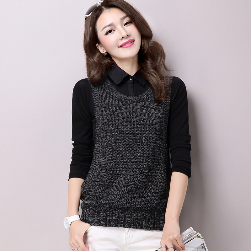 Shirt collar sweater womens two-piece set autumn and winter Pullover short womens Vest Shirt spring sweater top