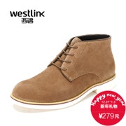 Westlink/West 2015 winter new simple Joker round leather lacing casual men's boots