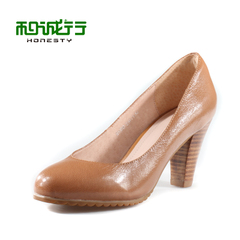 He Chenghang and 2015 spring new Korean version of solid color Scrubs Sheepskin ladies high heels shoes 01326A