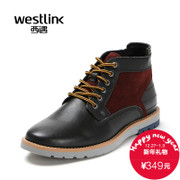 Westlink/West New 2015 winter leisure the first layer of leather stitching lace ankle boots real leather men boots