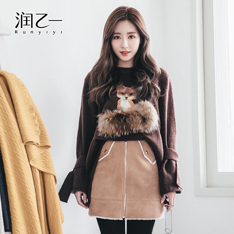 润乙一2016新款韩版卡通毛衣女套头修身长袖狐狸针织打底衫