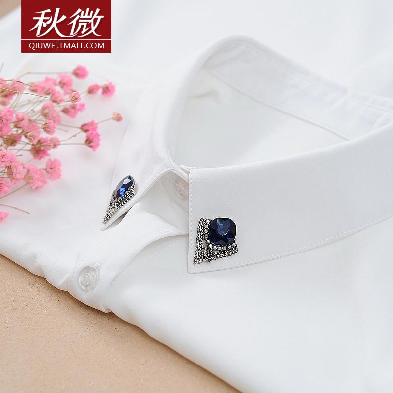 秋微春夏新款衬衣领针翻领打底衫大码白色打底雪纺无袖衬衫女