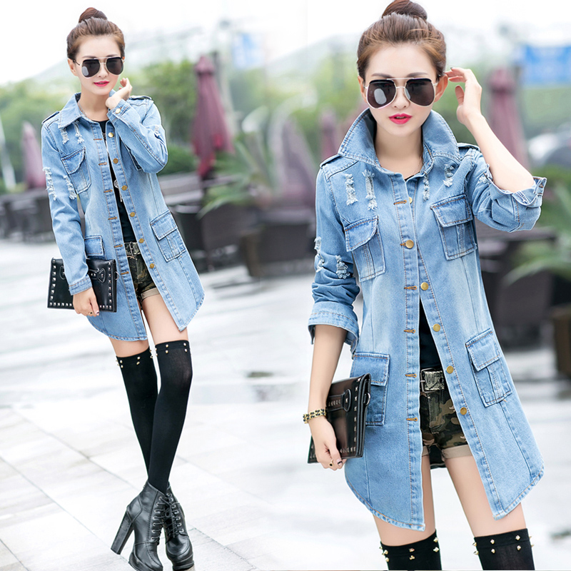 Осенью 2015 новых моды потертый джинсовая куртка долго Корейский длинный рукав пальто случайные джинсы