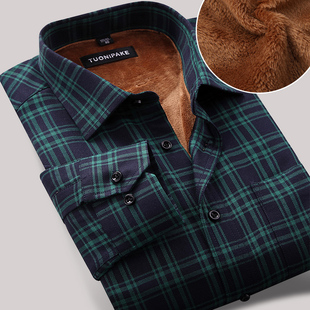 Plus thick velvet warm autumn and winter men s casual plaid shirt plus velvet men s Slim shirt plus velvet warm shirt