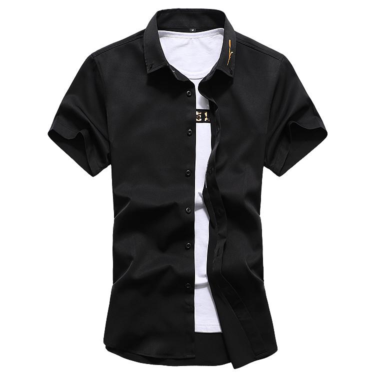 C2013 夏季新款男士大码休闲纯色刺绣短袖衬衫P35 黑色