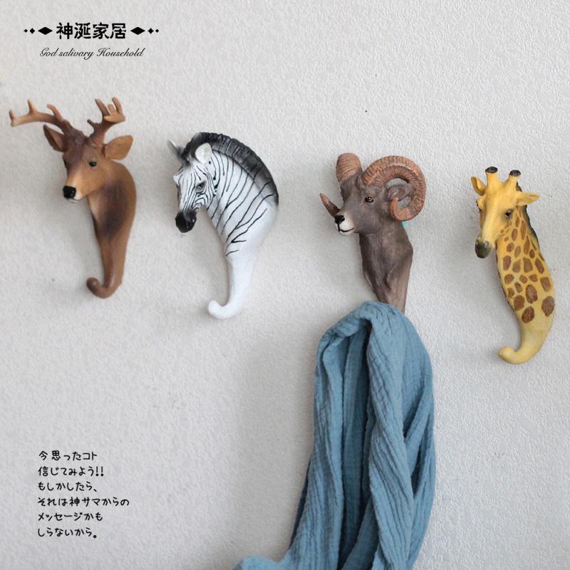 美式複古動物鑰匙掛鉤牆飾 玄關 鹿頭壁掛服裝店鋪裝飾掛鉤