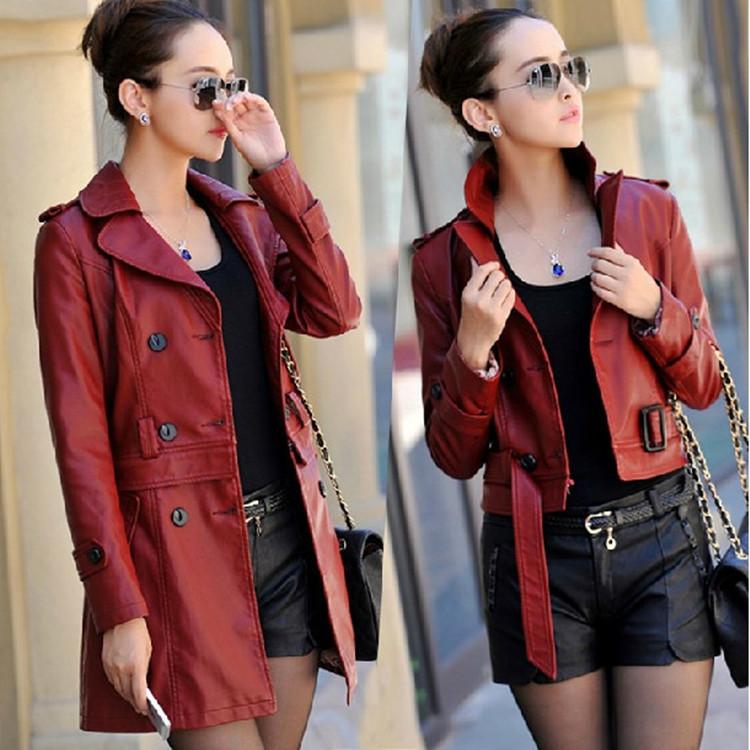 Осень 2015 новый длинный би раза кожаный кожаный худенькая девушка корейской версии self в Haining кожа Тренч Пальто куртка волна