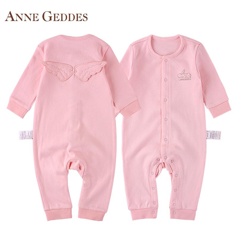 美國AnneGeddes新生兒純棉連體衣 嬰兒秋衣 男女寶寶春秋居家睡衣