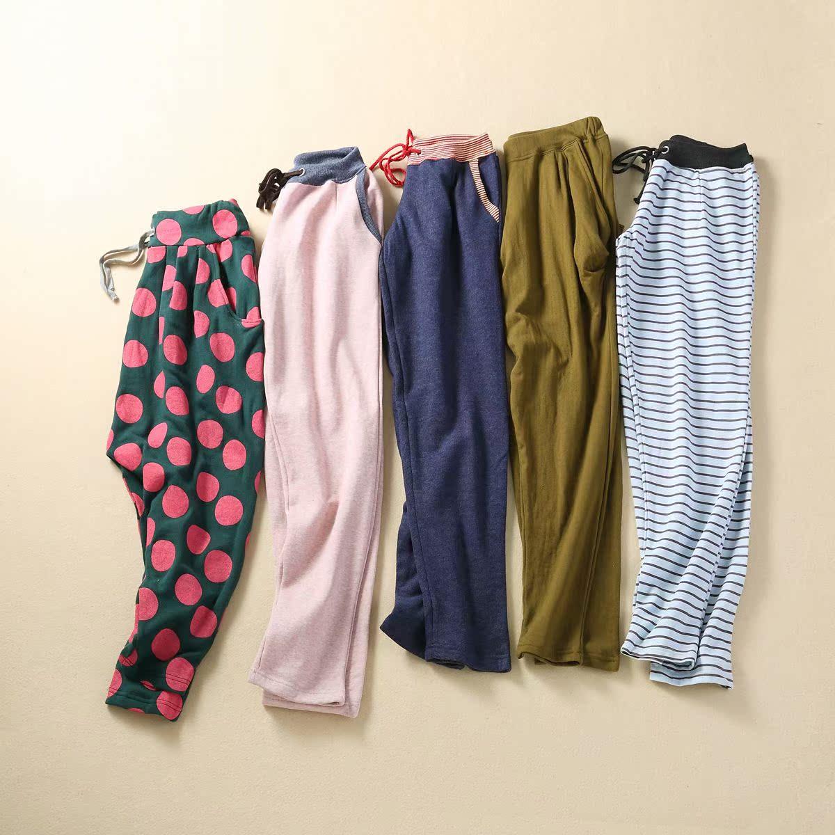 Внешняя торговля оригинальный контраст талии упругие талии галстук талии хлопок платье круг волна полосы девять брюках 0,3