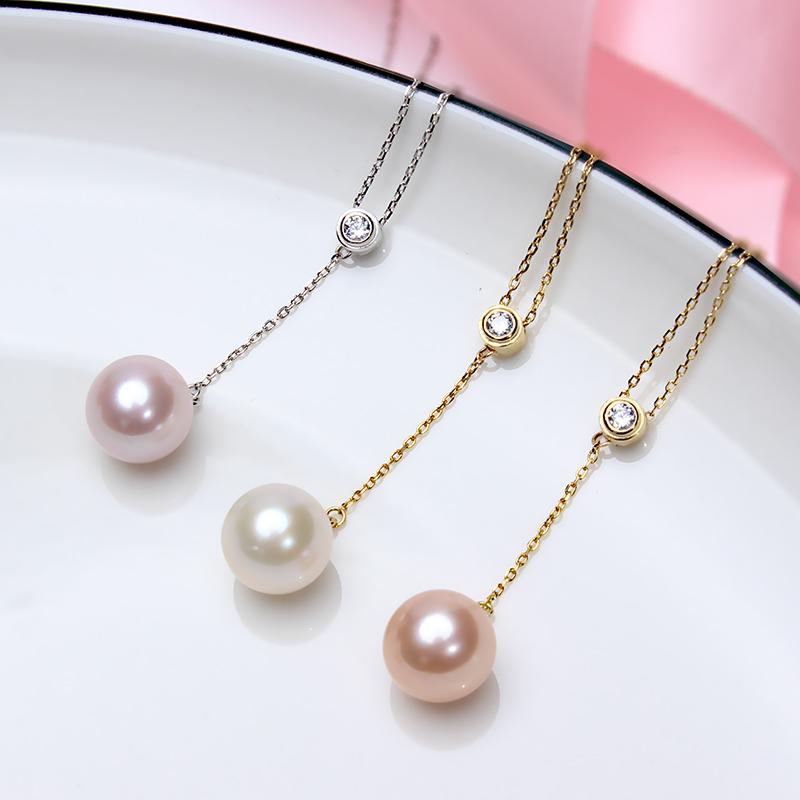 银可调节项链精品S925正圆强光淡水珍珠吊坠镶皓10mm玺爱珠宝