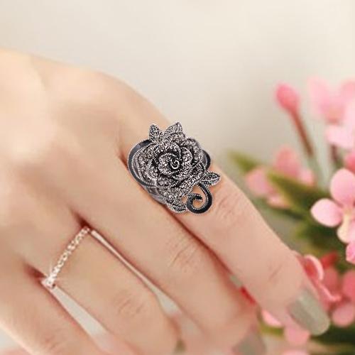 韩国饰品复古玫瑰花食指女欧美潮人时尚花朵指环夸张个性戒指