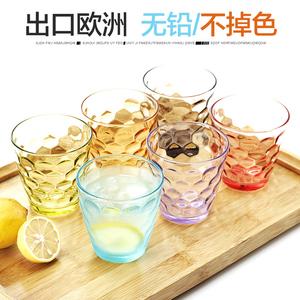 彩色创意透明玻璃水杯 家用耐热玻璃杯子