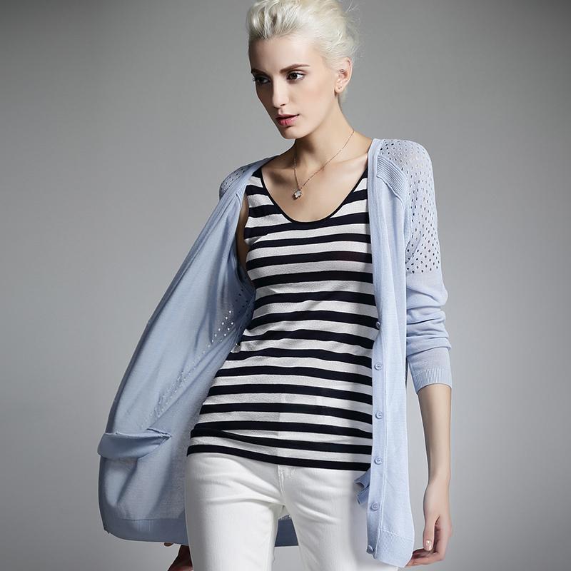 梅湾街2019新品春装欧美中长款OL百搭镂空针织开衫女士薄长袖外套