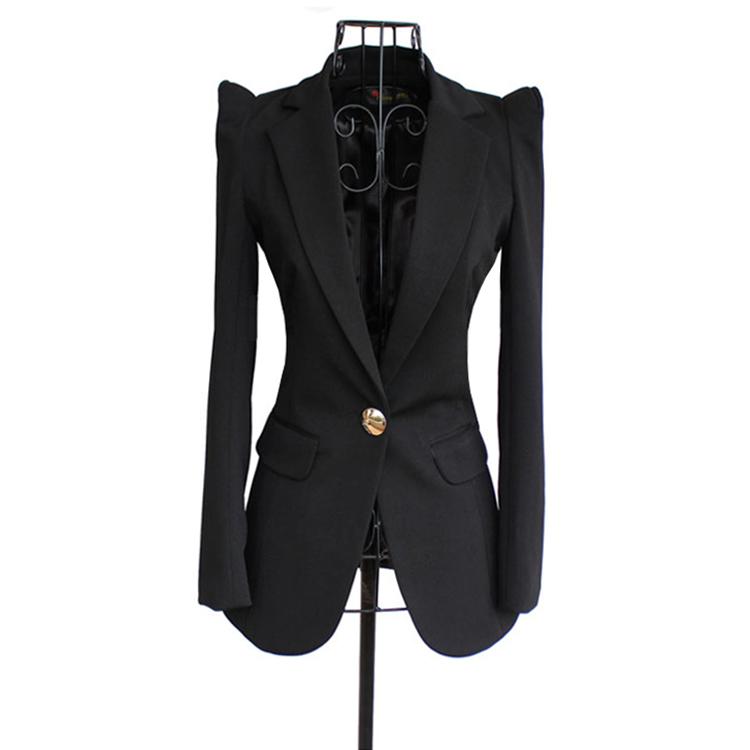 欧美春秋装女装中长款显瘦气质耸肩小西装OL修身小西服外套职业装