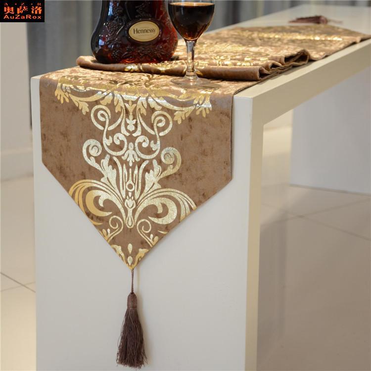 奧薩洛 巴洛克 桌旗歐式奢華新古典絨布燙金 茶幾餐桌床旗餐墊