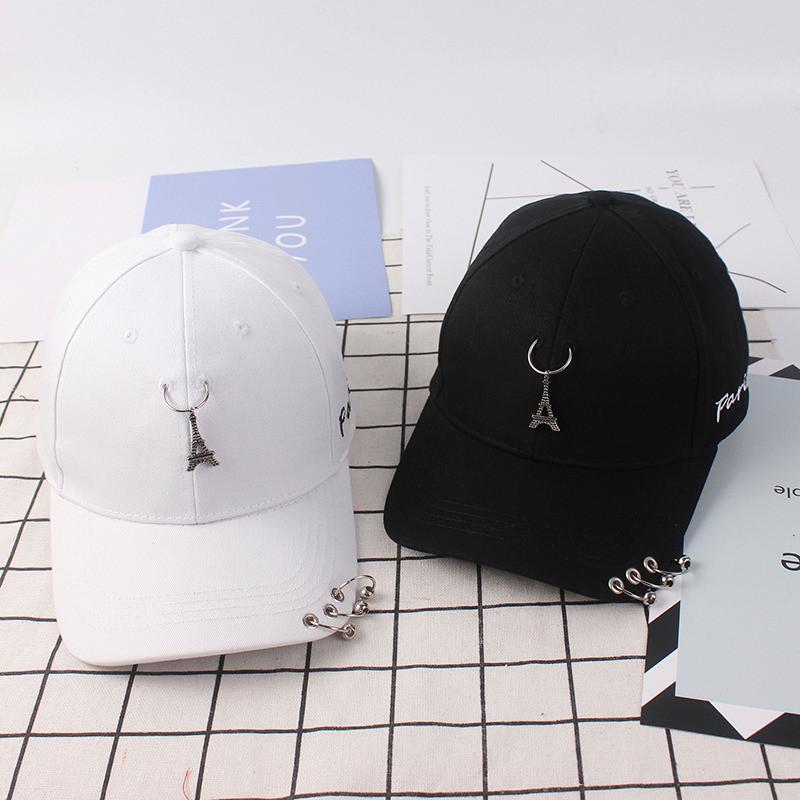 韓國帽子女夏天百搭鐵塔三環鴨舌棒球帽子潮男嘻哈街頭彎簷遮陽帽