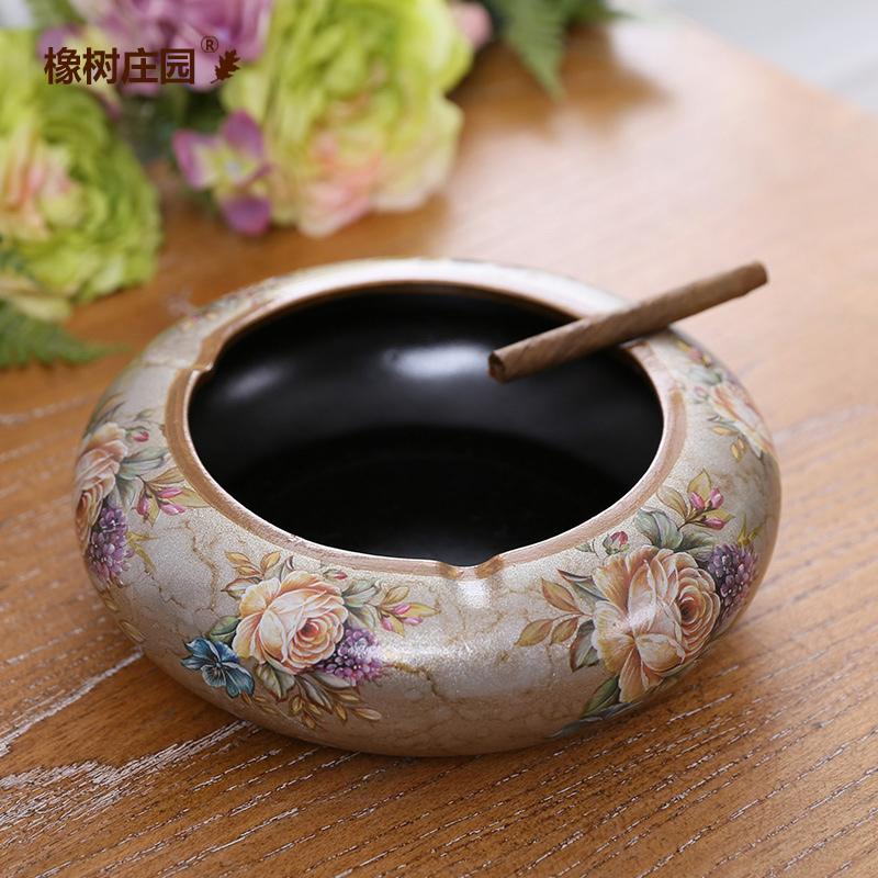 橡樹莊園 歐式古典陶瓷彩繪煙灰缸 英倫曼舞 家居客廳茶幾擺件