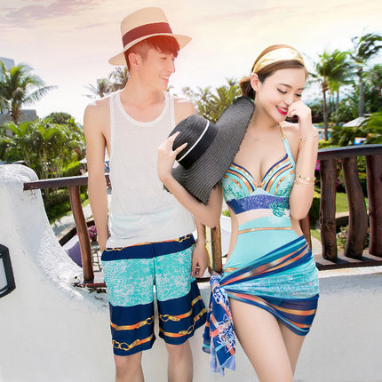 2017 New Couples Men's Beach Pants Women's 1-piece Swimsuit