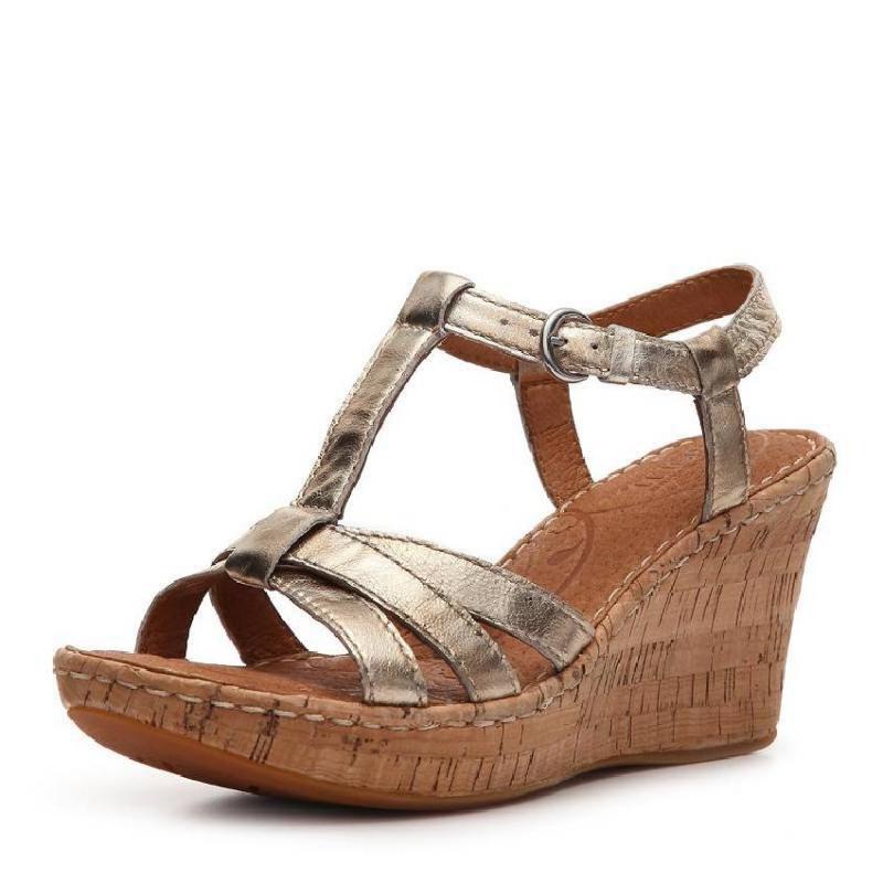 美国直邮Born/博仁 301808女金属色坡跟皮质凉鞋包邮