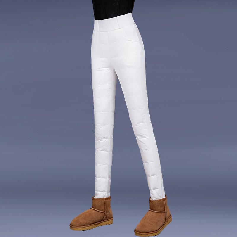 羽绒裤女外穿加厚冬季双面显瘦靴裤长裤铅笔裤修身大码保暖棉裤女