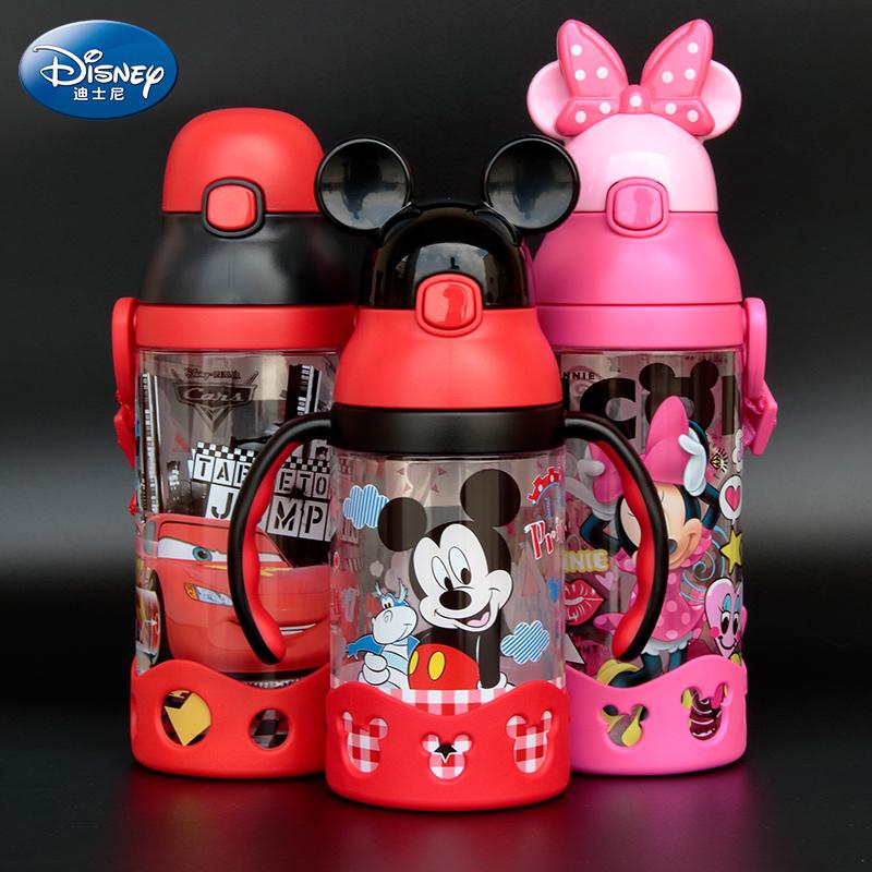 迪士尼兒童水杯 水瓶背帶吸管杯便攜學生塑料杯子防漏寶寶水壺