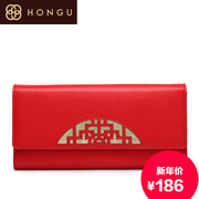 Honggu red Valley counter ladies authentic folk style leather wallet purse fashion wallets 9008