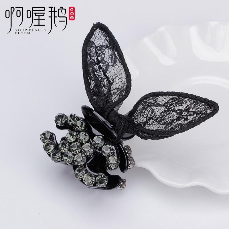 韩国兔耳朵发夹简约百搭个性头饰大小号蝴碟结抓夹刘海卡子女顶夹
