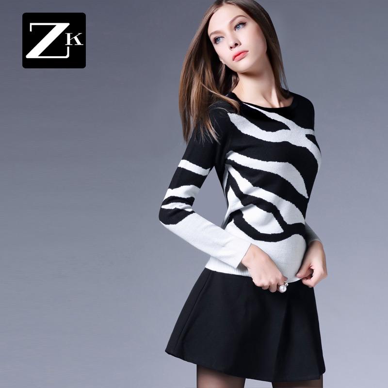 ZK женщины 2017 весенний и осенний сбор. новый черный белая полоса зебра тонкий хеджирование свитер поддержка свитер женщина C