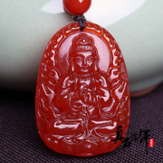 Samantabhadra Medallion red agate necklace goat monkey guardian life SpongeBob pendant goat pendant