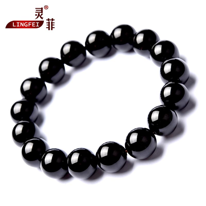 灵菲黑玛瑙手链男女6-14mm 黑色玛瑙珠子貔貅单圈黑水晶佛珠手串