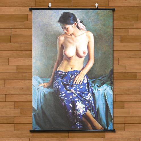 卧室装饰艺术布画中国风人体油画效果性感美女壁画裸照情趣挂轴画