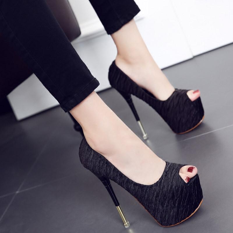 黑色灰色布面超高跟细跟防水台鱼嘴单鞋恨天高T台夜店16CM女鞋子