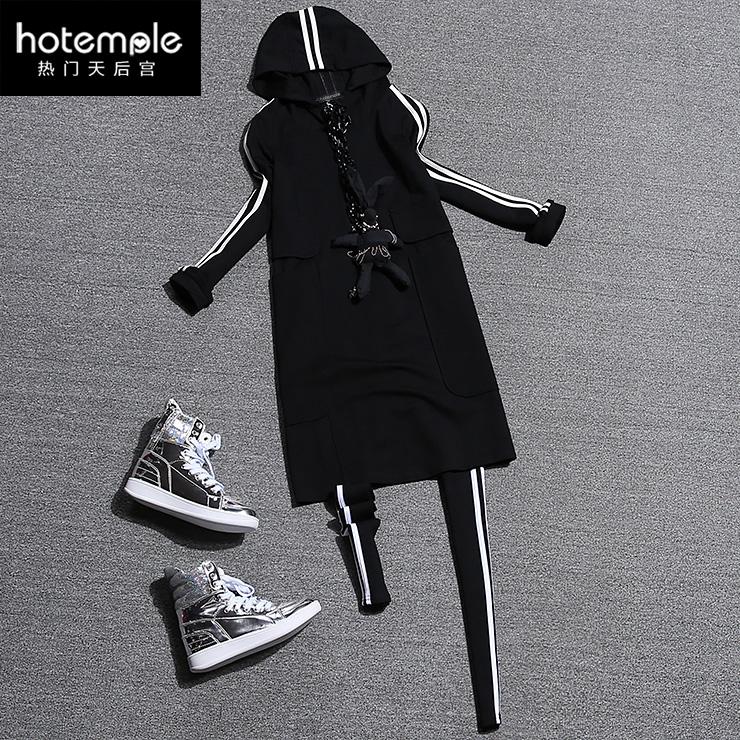 Европы 2015 осенью новых европейских товаров непринужденная спортивная одежда ноги длинный свитер платье брюки для девочек