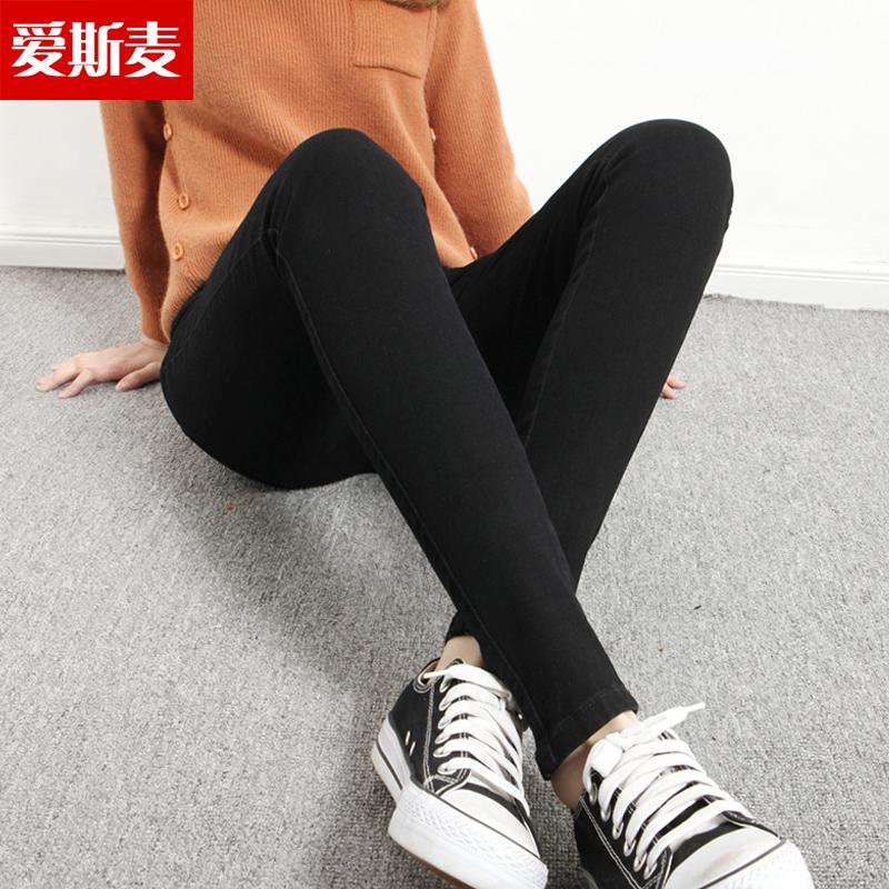 2017新款显瘦黑色高腰牛仔裤女紧身小脚包腿学生韩版铅笔长裤子潮