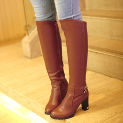 2015 winter new style rough round head with biker boots side zipper belt buckle high boots high boots with winter boots